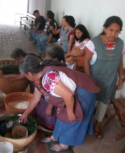 Village women making 'tejate.' Montaño family