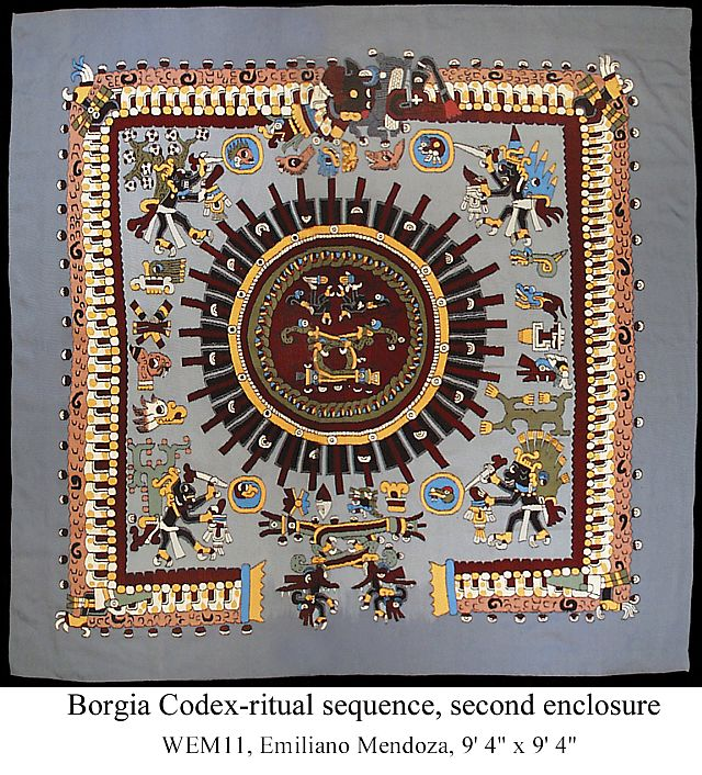 "Image from Borgia Codex 9'4"" x 9'4"" by Emiliano and Arnulfo Mendoza"