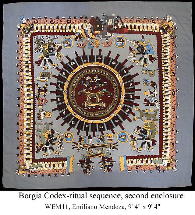 "Image from Borgia Codex 9'4"" x 9'4"" by Emiliano and Arnulfo Mendoza"
